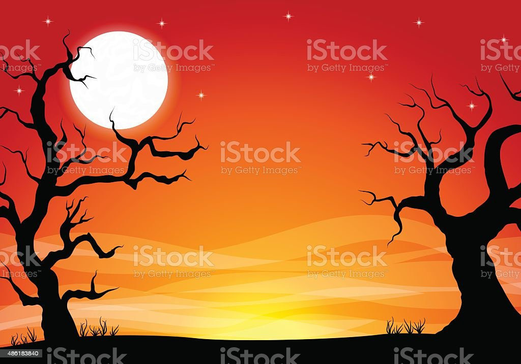 halloween background with a full moon night vector art illustration