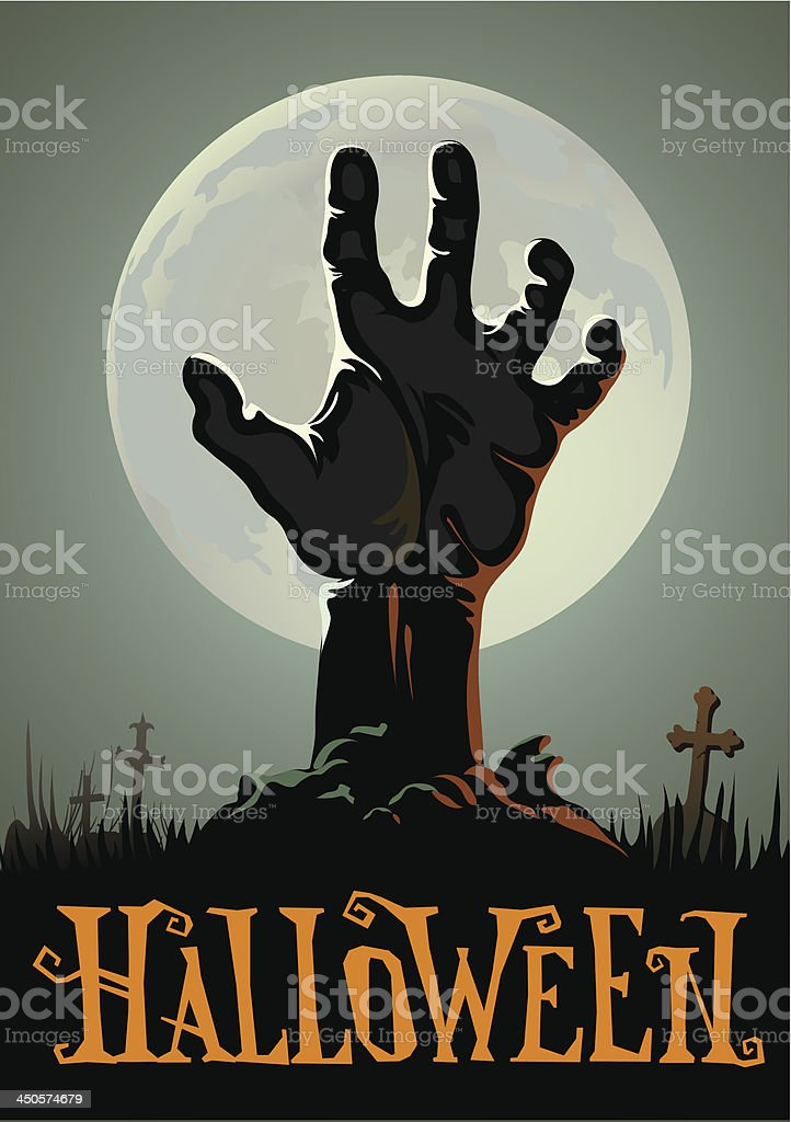 Halloween background with a zombie hand vector art illustration