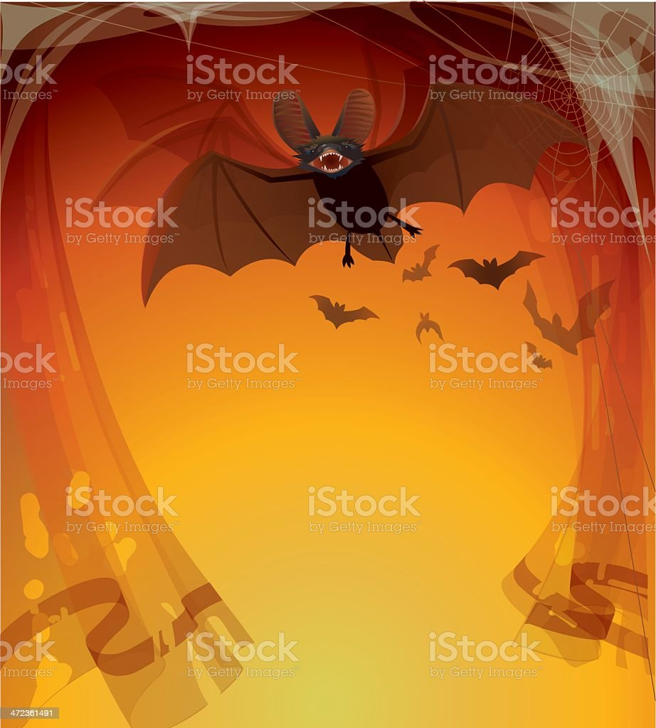 Halloween Background with Bat royalty-free stock vector art