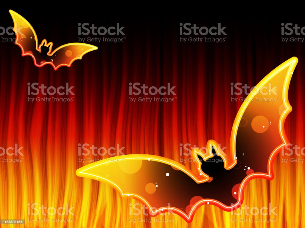 Halloween Background with Bats and Flames royalty-free stock vector art