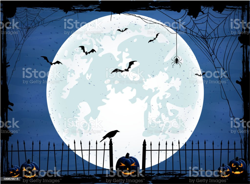 Halloween background with blue Moon vector art illustration