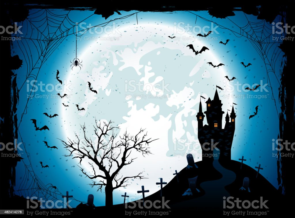 Halloween background with castle and spider vector art illustration