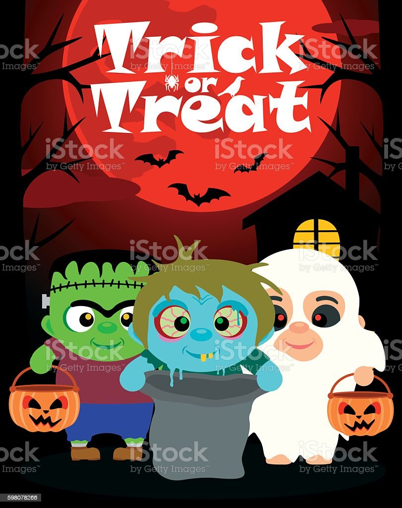 Halloween background with children trick or treating vector art illustration