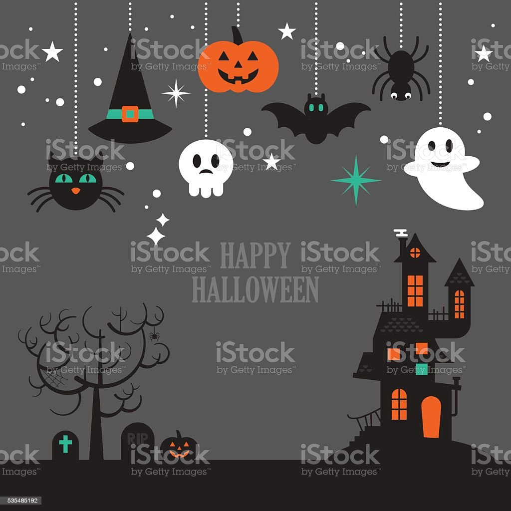 Halloween background with decorative elements for design vector art illustration