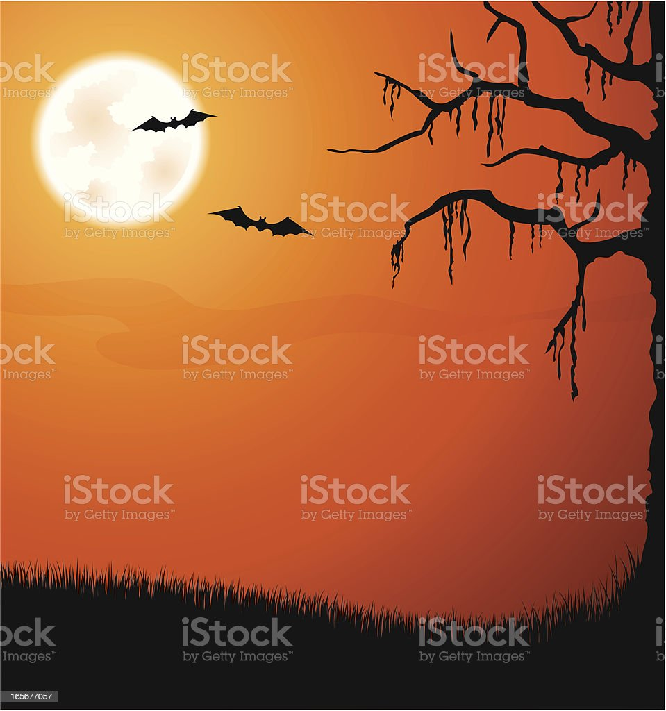 Halloween background with moon and bats royalty-free stock vector art