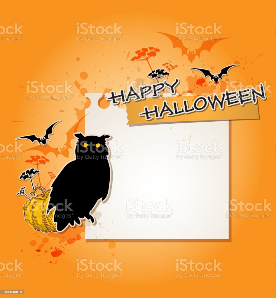 Halloween background with owl vector art illustration