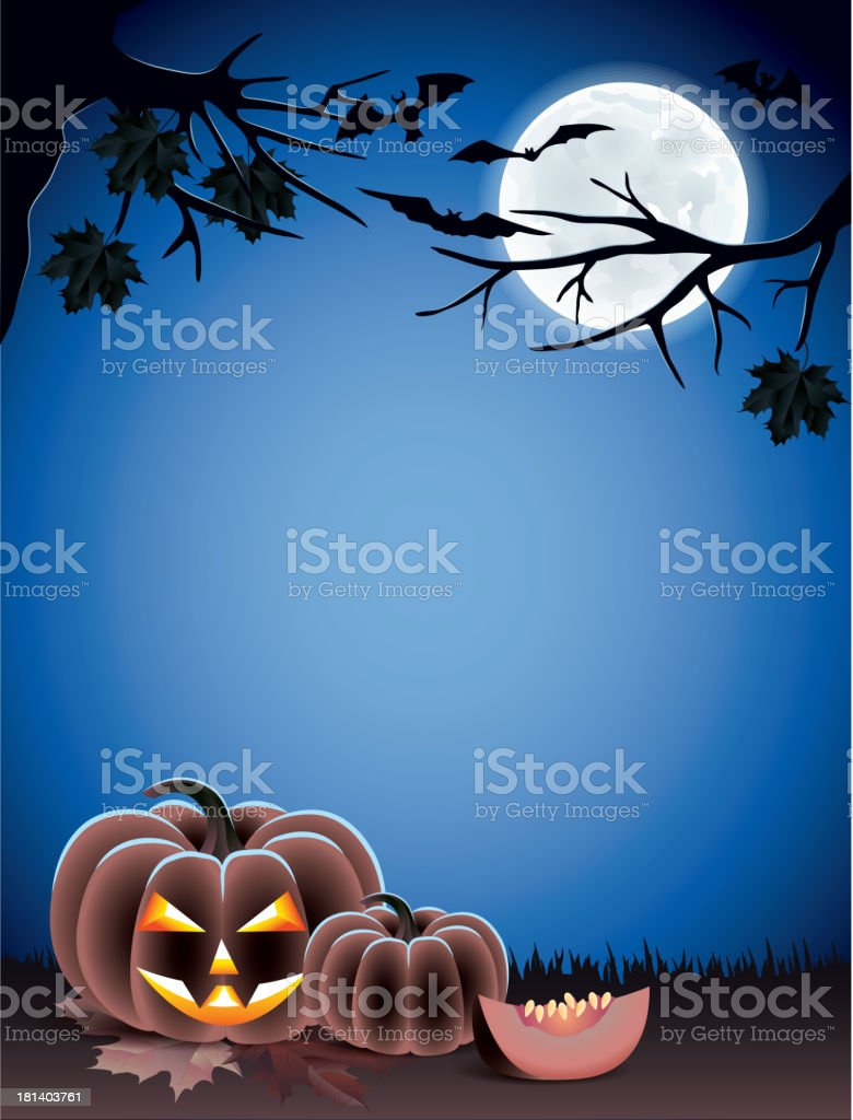 Halloween background with pumpkins on dark royalty-free stock vector art