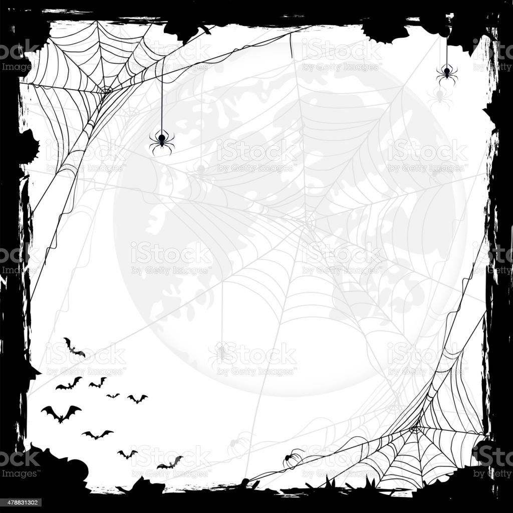 Halloween background with spiders and bats vector art illustration