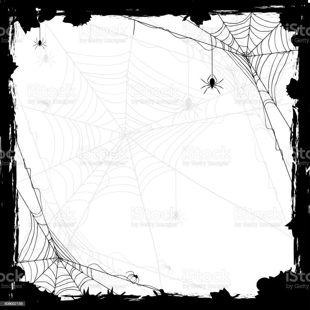Halloween background with spiders vector art illustration