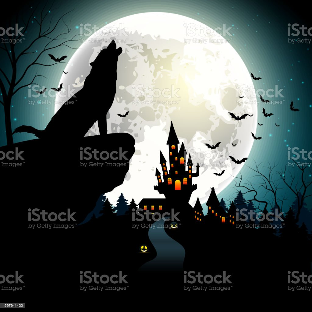 Halloween background with the wolf on full moon vector art illustration
