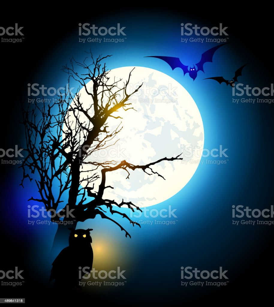 Halloween background with tree vector art illustration