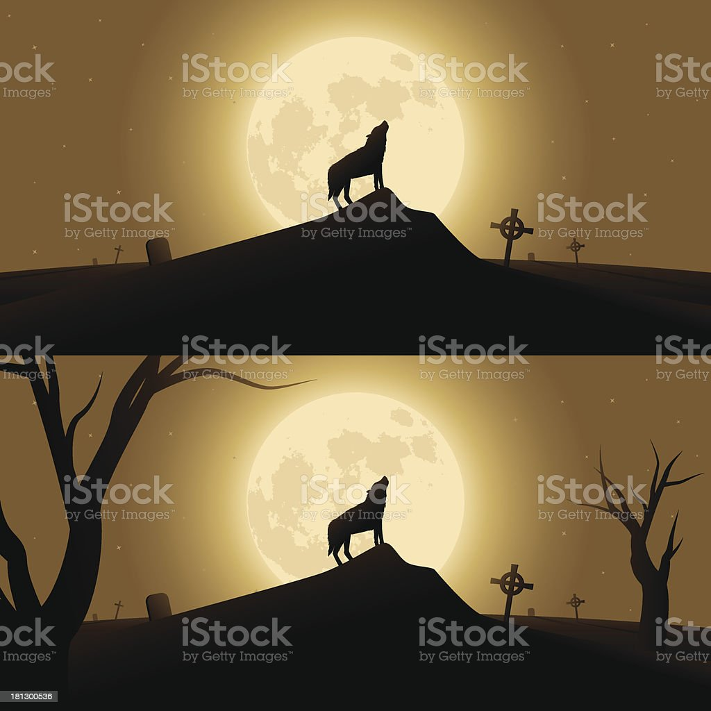 Halloween background with werewolf howling in moonlight royalty-free stock vector art