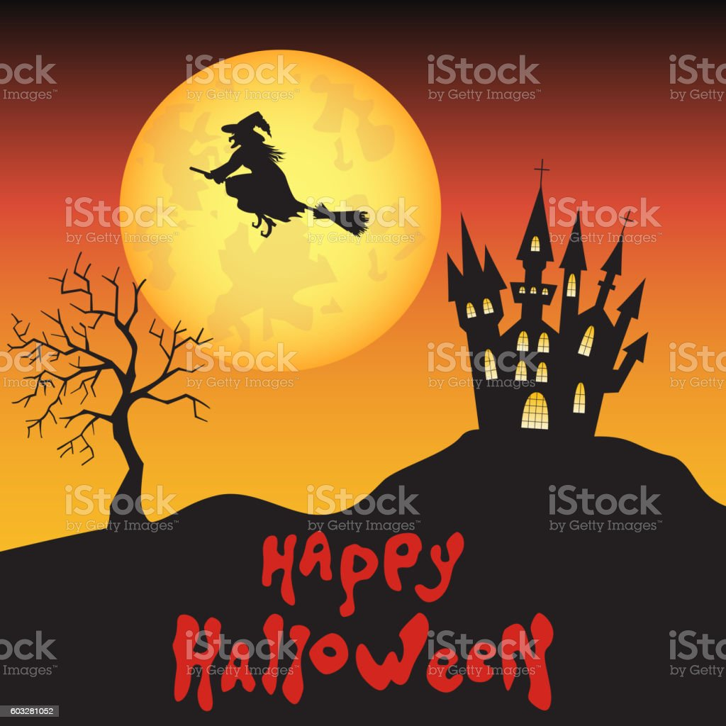 Halloween background  with  witch, moon  and  castle. vector art illustration