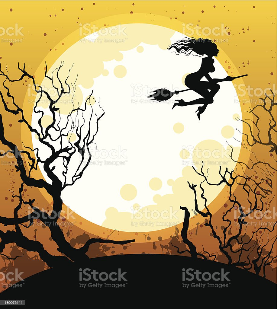 Halloween background with witch royalty-free stock vector art