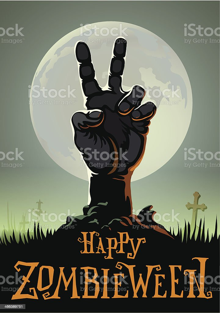 halloween background with zombie hand royalty-free stock vector art