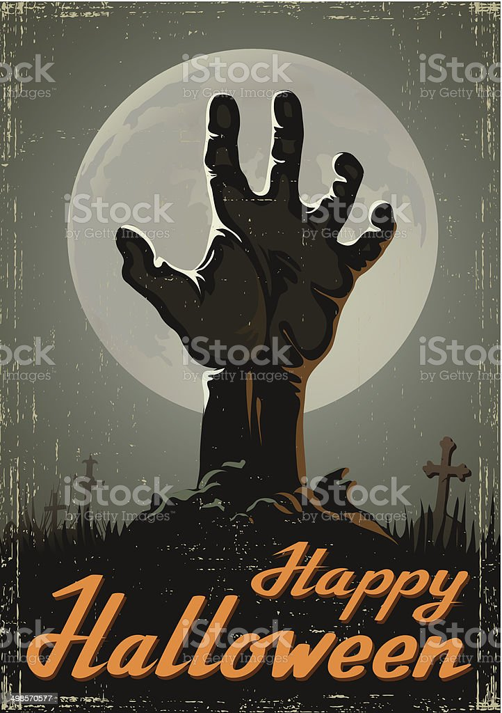 Halloween background with zombie hand vector art illustration