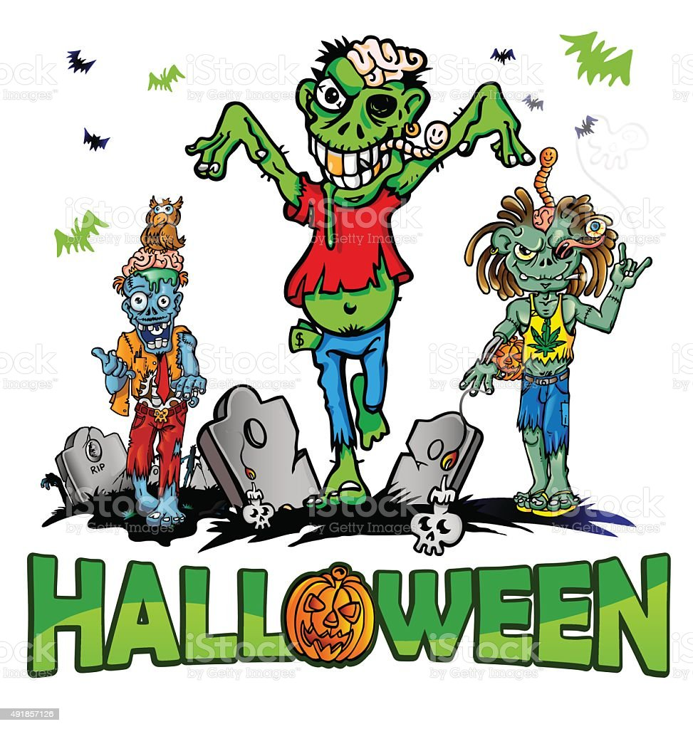 halloween background with zombie vector art illustration
