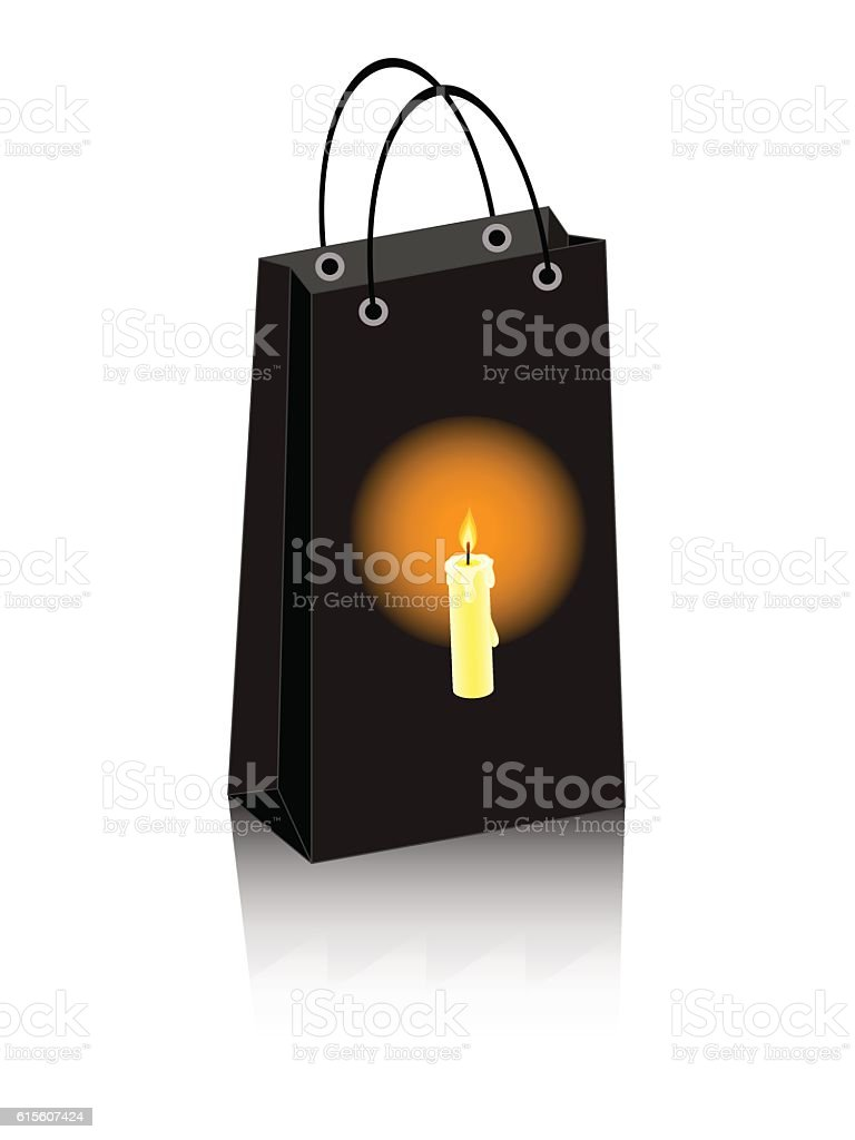 Halloween bag candle vector art illustration