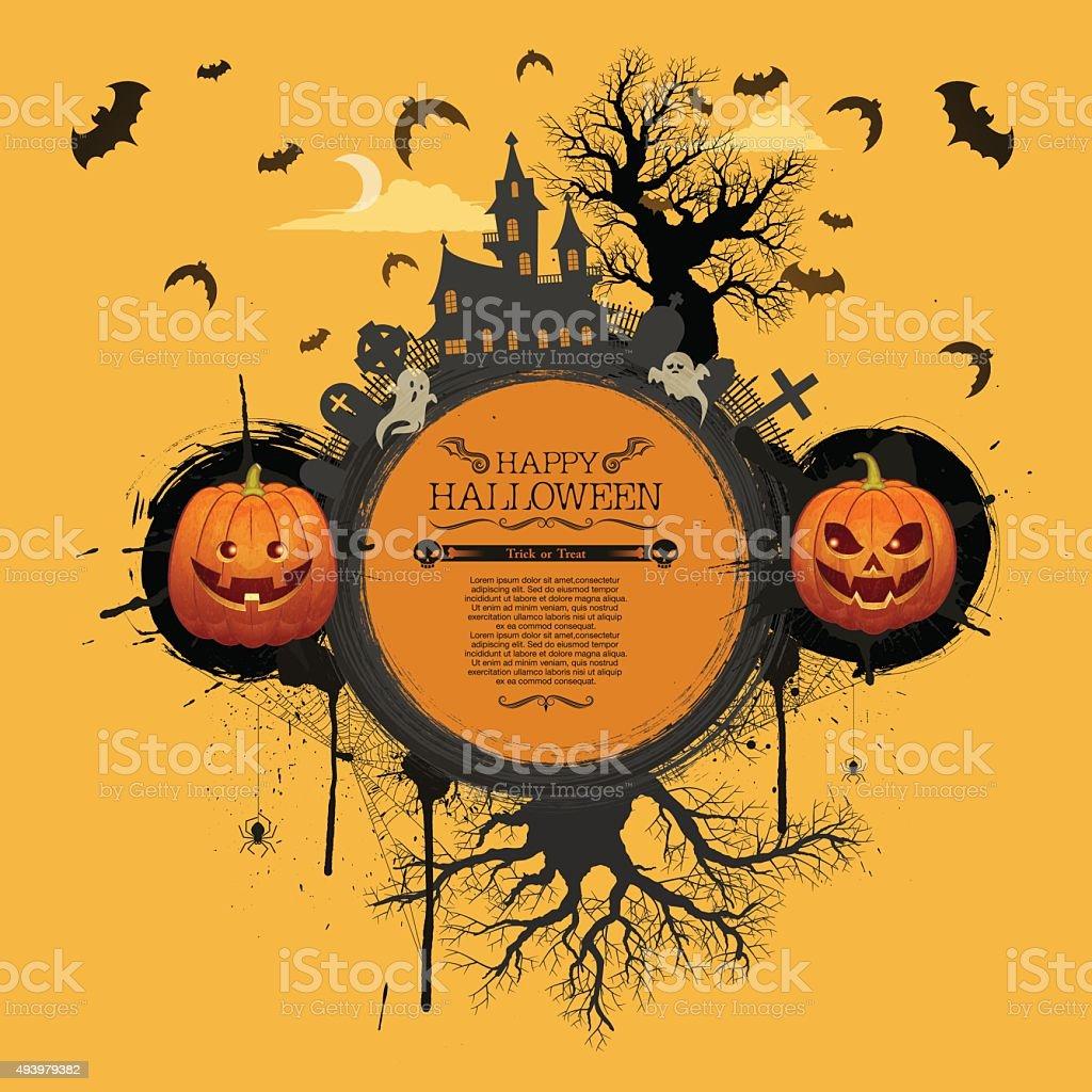 Halloween banner [Jack o' lantern world] vector art illustration