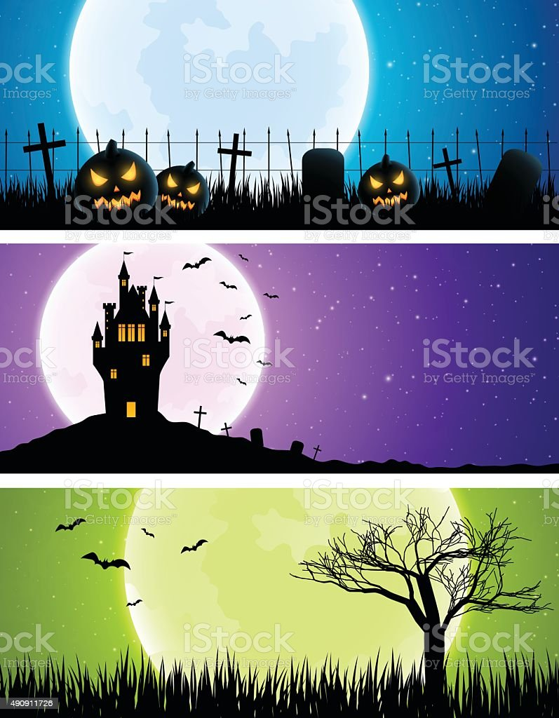 Halloween banners vector art illustration