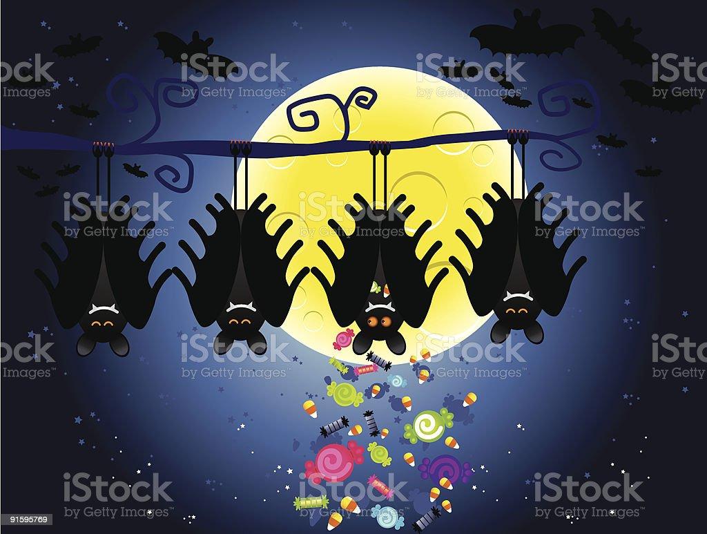 halloween bat hiding candy royalty-free stock vector art