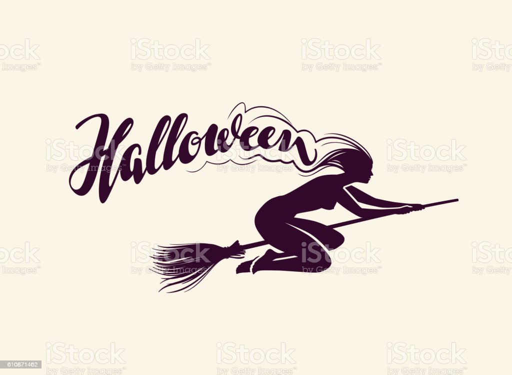 Halloween. Beautiful witch flying on broomstick. Greeting card. vector illustration vector art illustration