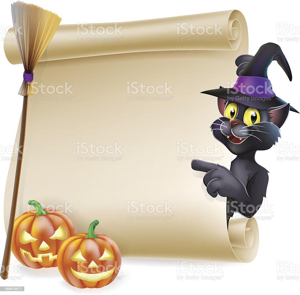 Halloween black cat Scroll royalty-free stock vector art