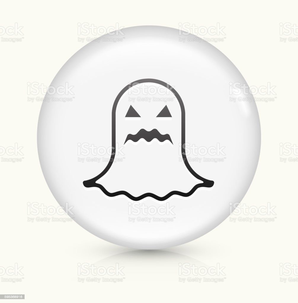 Halloween Black Ghost icon on white round vector button vector art illustration