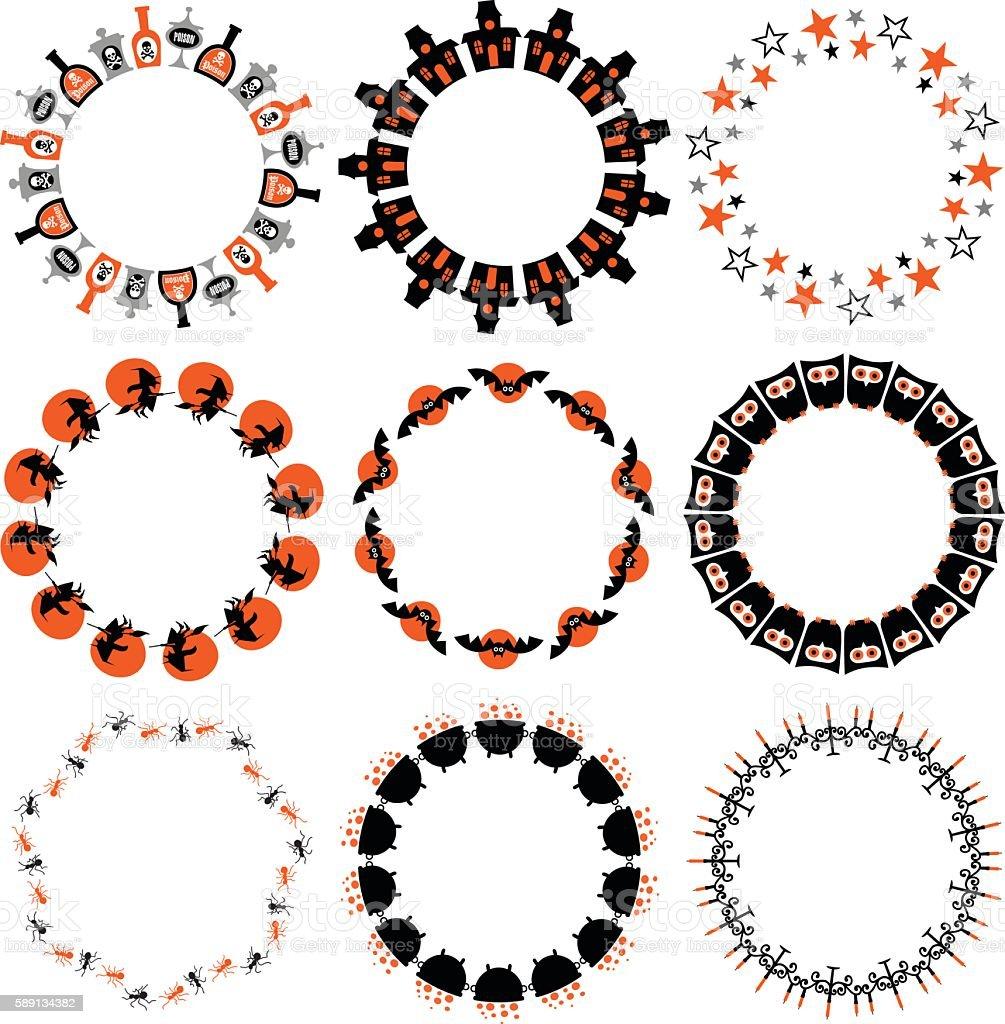Halloween Black Orange Frames vector art illustration
