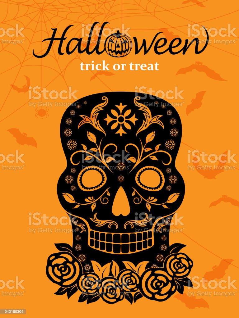 Halloween Black Skull vector art illustration
