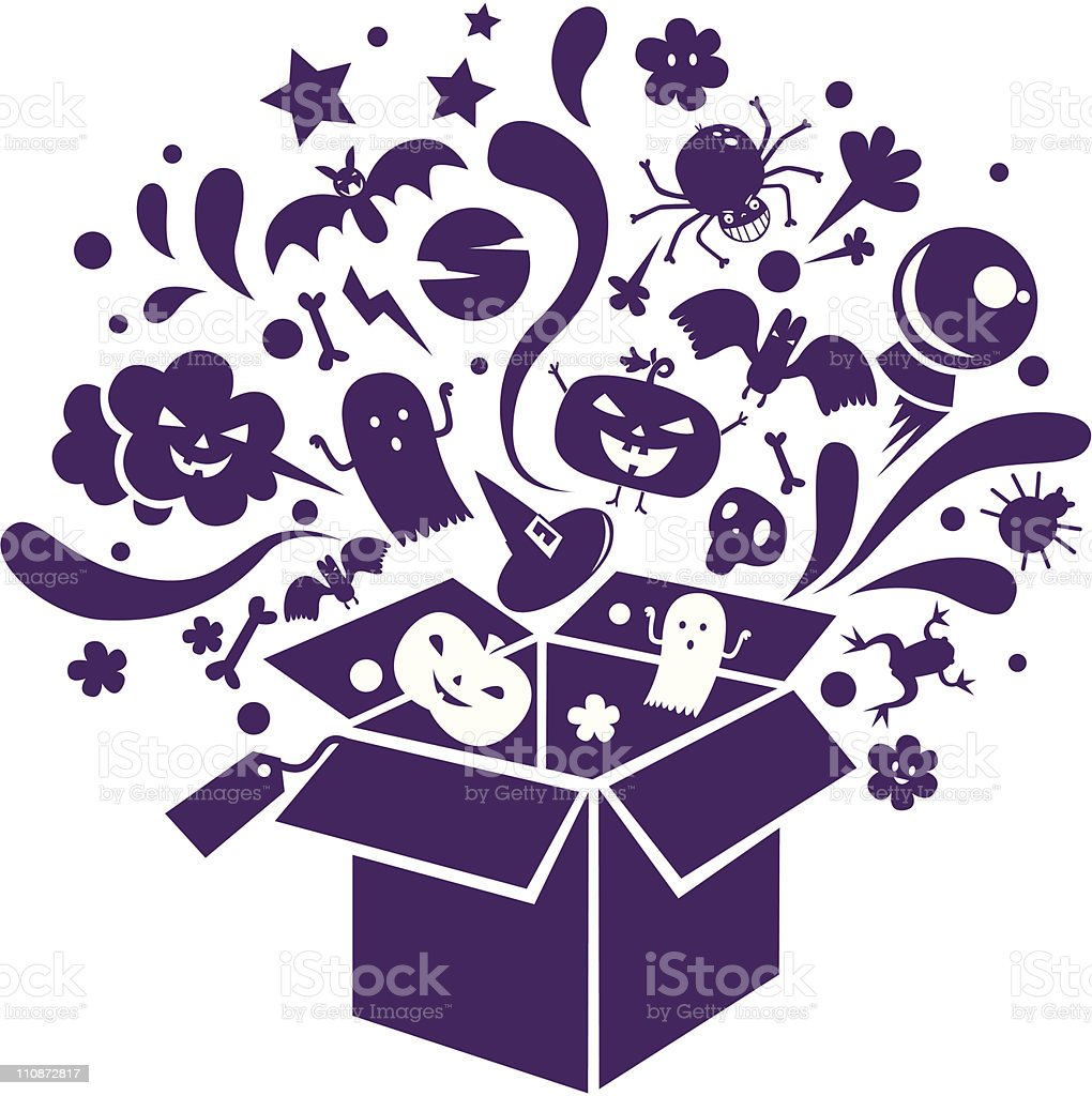 halloween box vector art illustration