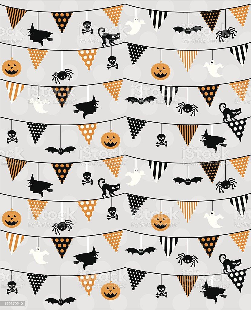 Halloween Bunting & Icons Pattern vector art illustration