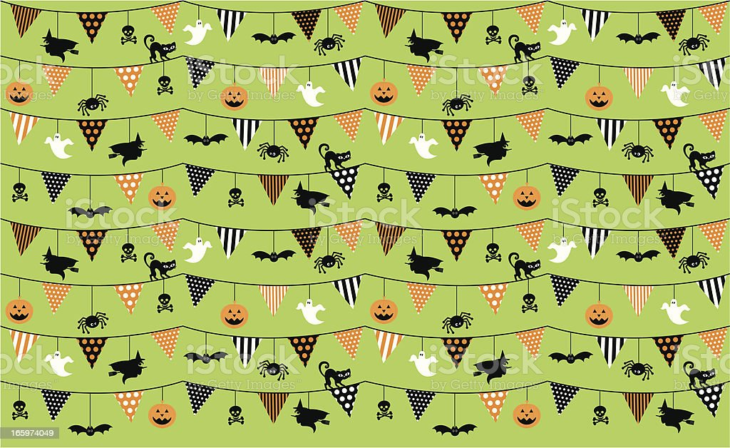 Halloween Bunting with Characters Seamless Repeat Pattern royalty-free stock vector art