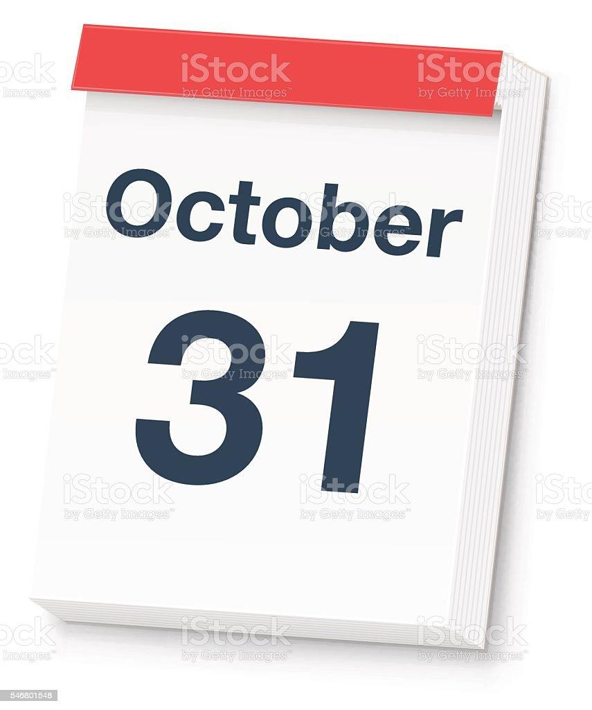 Halloween Calendar Day vector art illustration