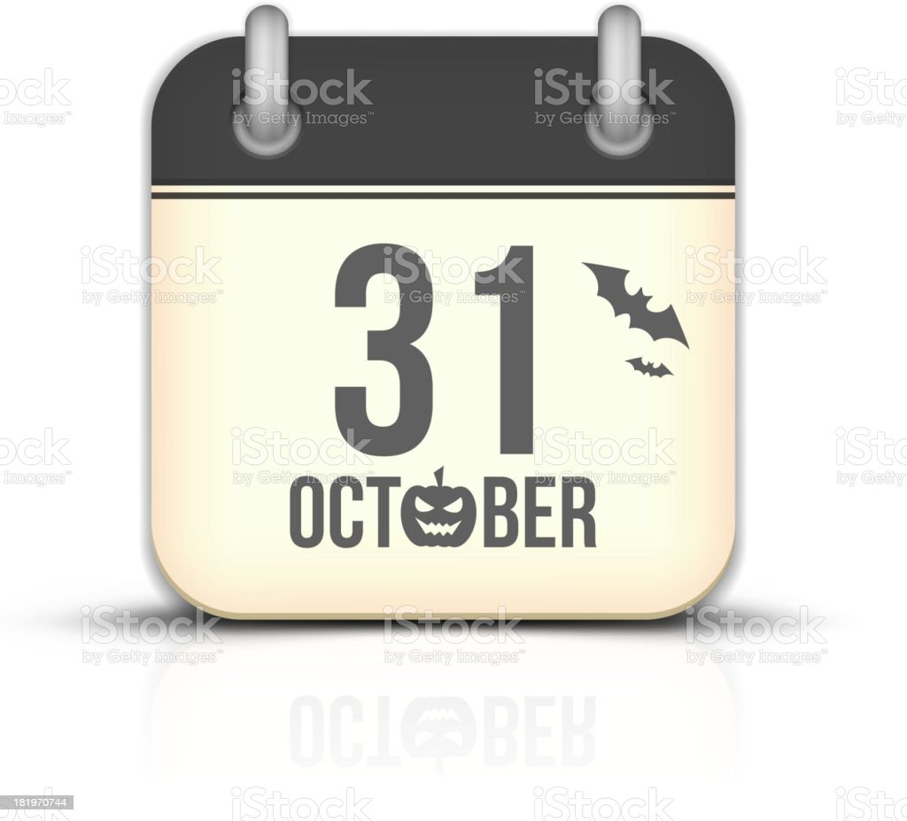 Halloween calendar icon with reflection. 31 October royalty-free stock vector art