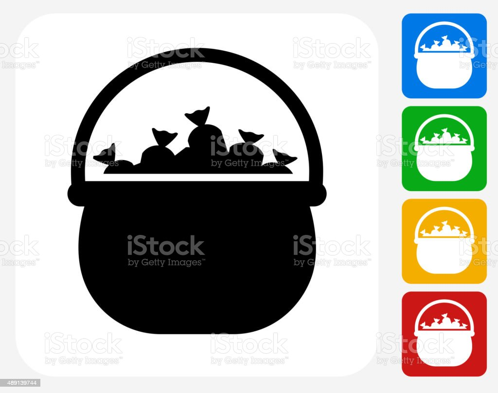Halloween Candy Pot Icon Flat Graphic Design vector art illustration