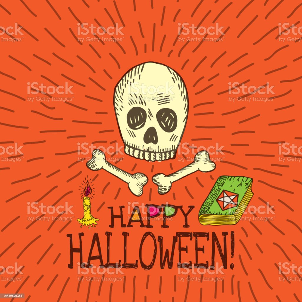 Halloween card with hand drawn skull, spell book and candle vector art illustration