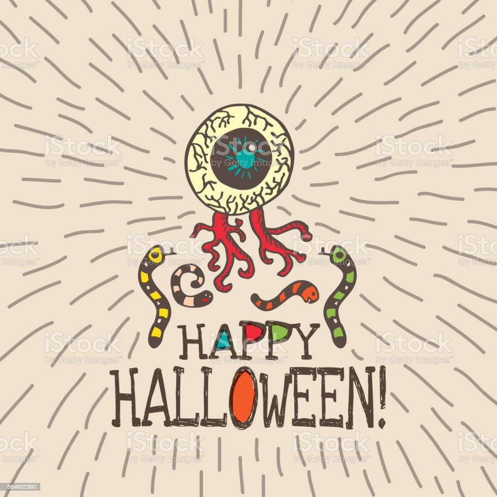 Halloween card with hand drawn zombie eye and worms vector art illustration