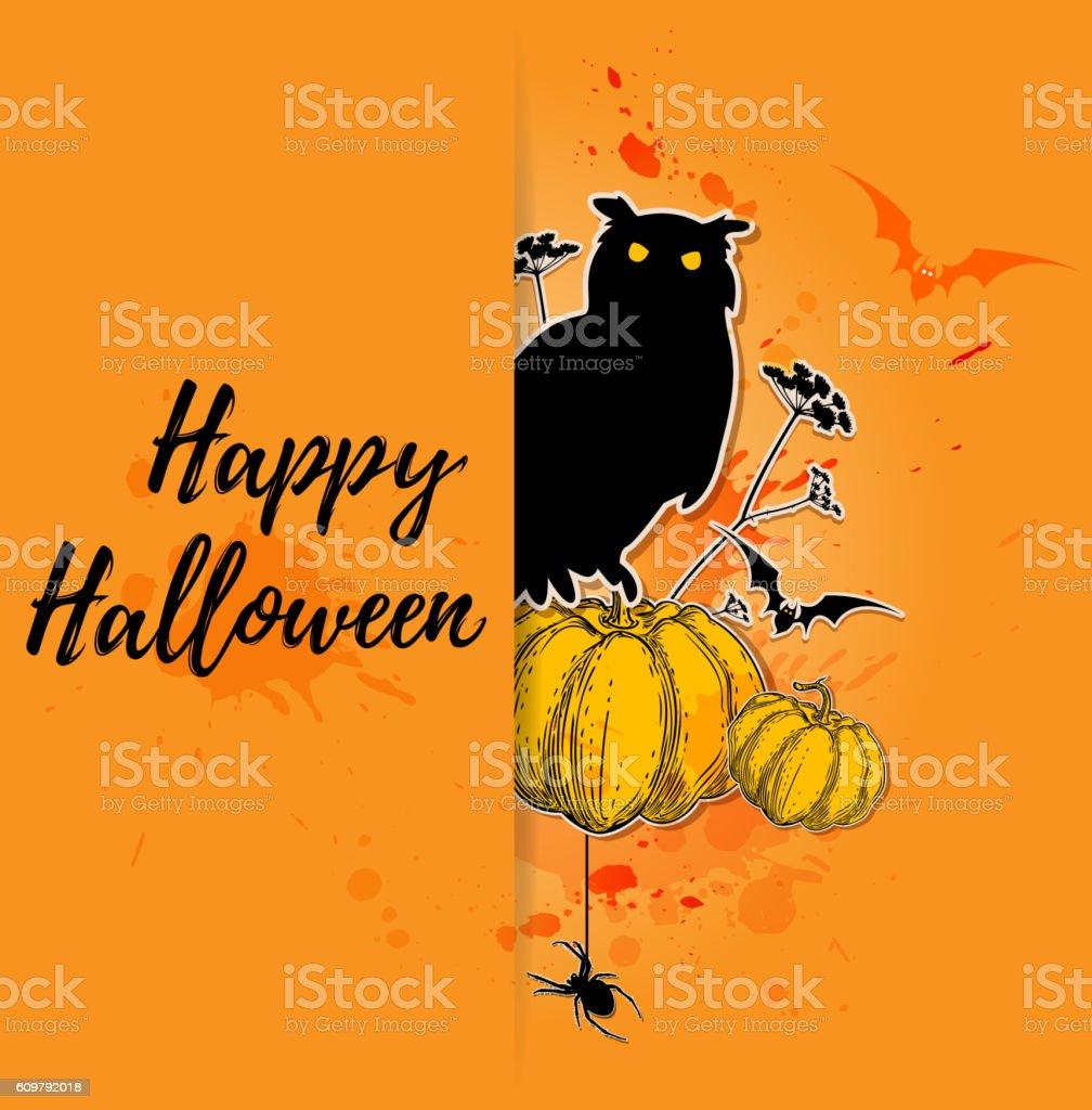 Halloween card with pumpkin and owl vector art illustration