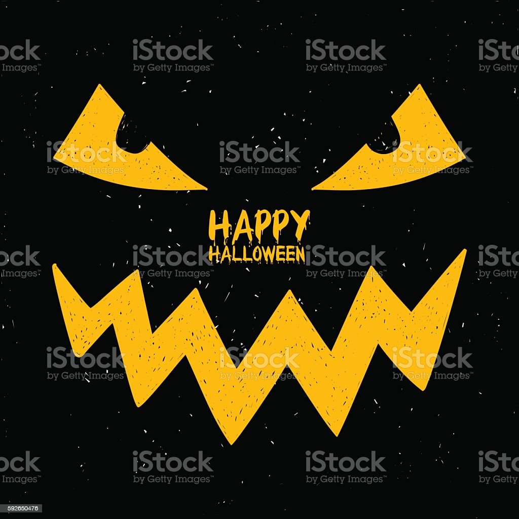 Halloween Card With Smiling Face Of Jack O'Lantern Pumpkin. vector art illustration