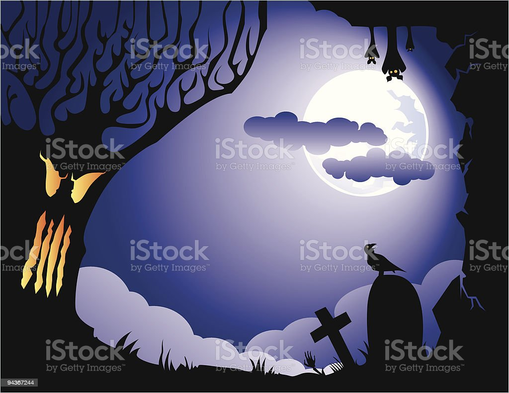 halloween card, with tree, bat, graves and crow. vector art illustration