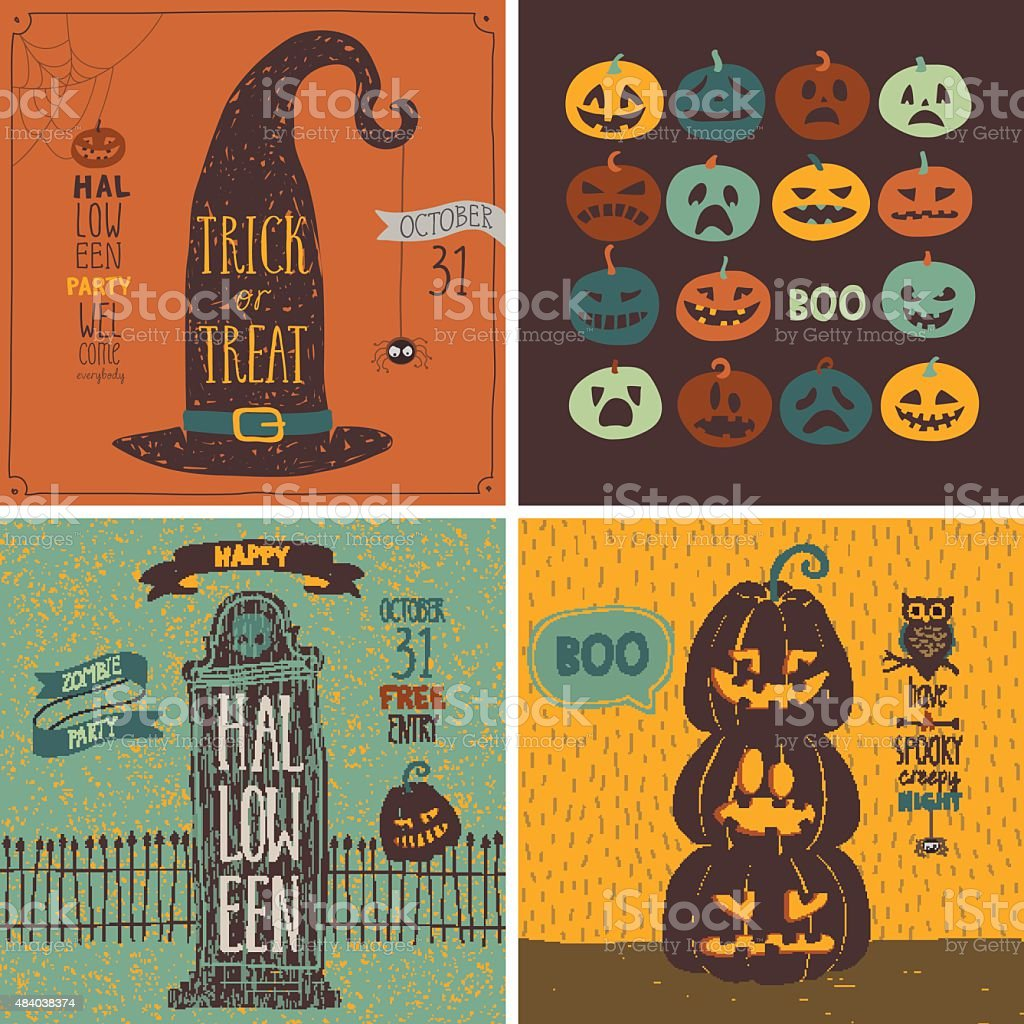 Halloween Cards set - hand drawn style. vector art illustration