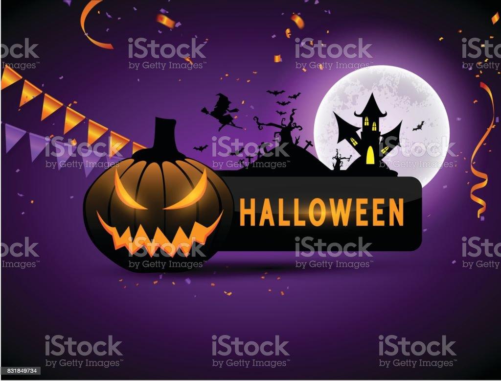 Halloween Carnival Background, Orange purple balloons, confetti concept design Party, Celebration Vector illustration. vector art illustration