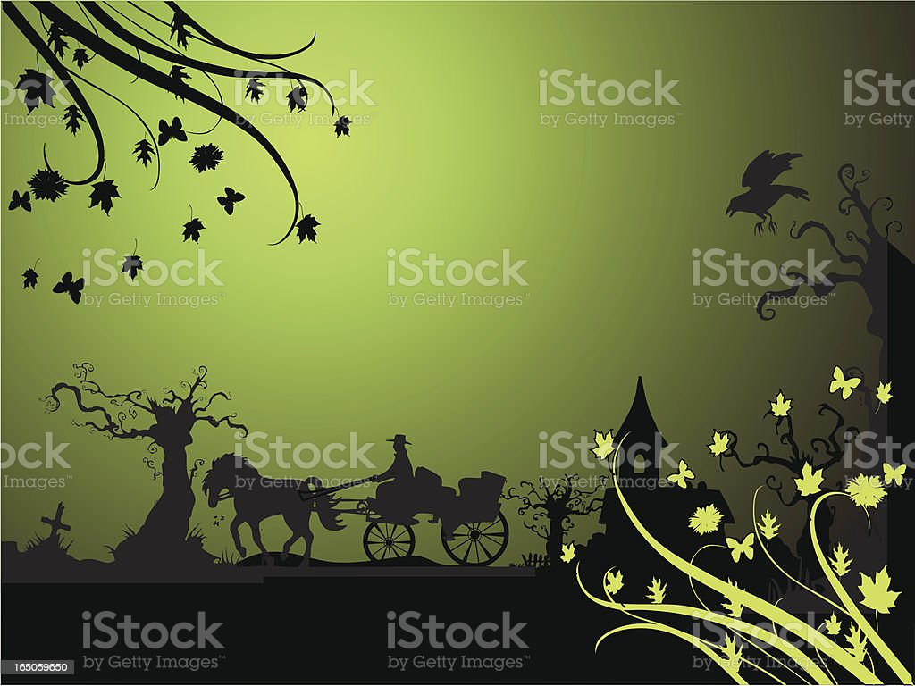 halloween carriage vector art illustration