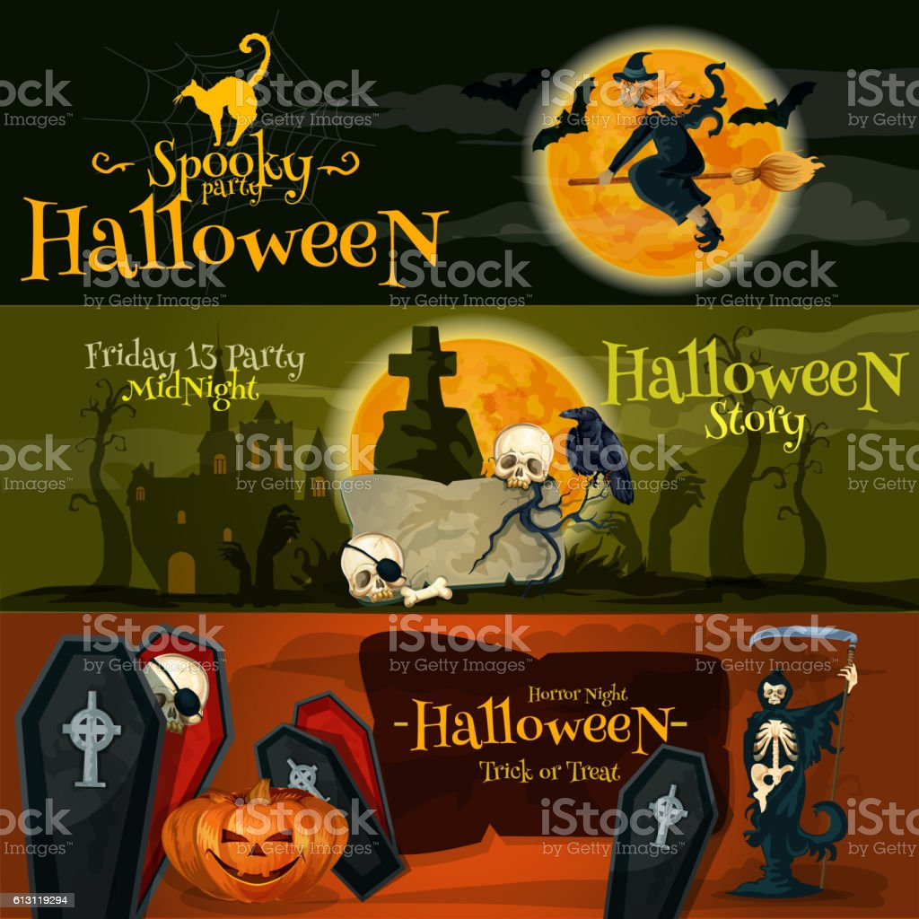 Halloween cartoon banner with text and characters vector art illustration