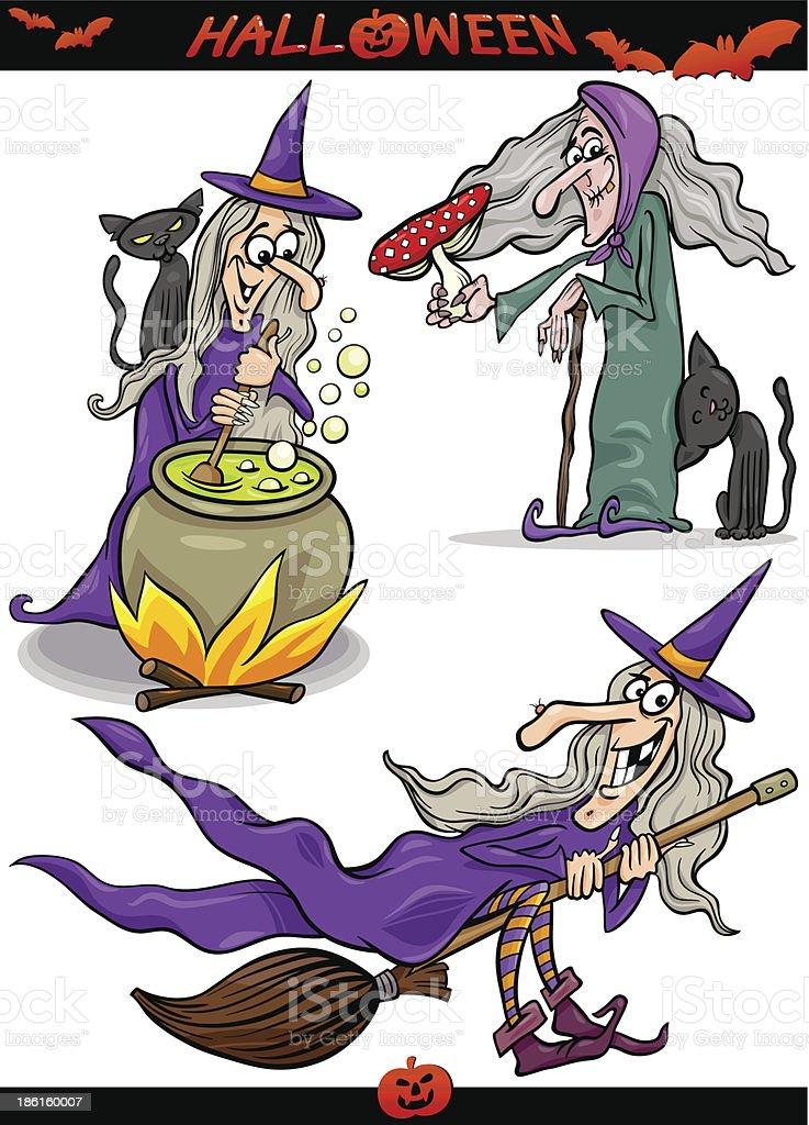 Halloween Cartoon Spooky Themes Set royalty-free stock vector art