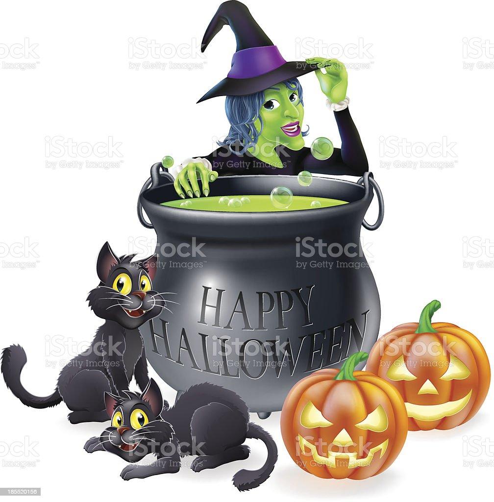 Halloween Cartoon Witch Scene royalty-free stock vector art