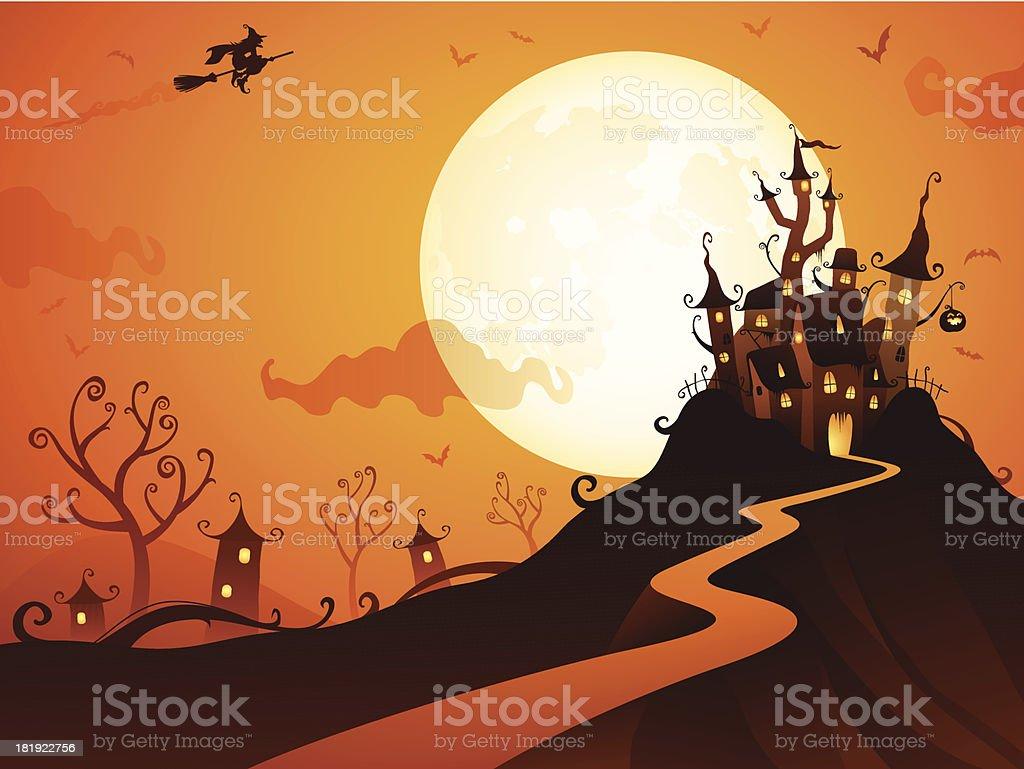 Halloween Castle vector art illustration