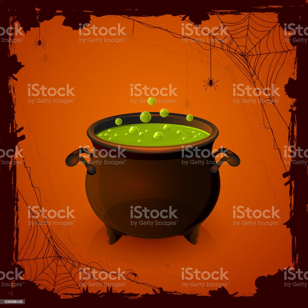 Halloween cauldron and spiders royalty-free stock vector art