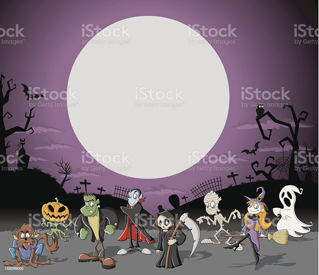 Halloween cemetery with monsters royalty-free stock vector art